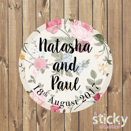 Personalised Wedding Stickers - Floral Country Garden Design